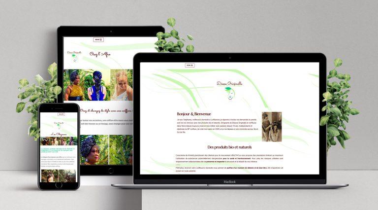 Site web vitrine réalisé pour un coiffeuse à domicile à La Réunion [ Intégartio, retouche des images, refonte du logo ]