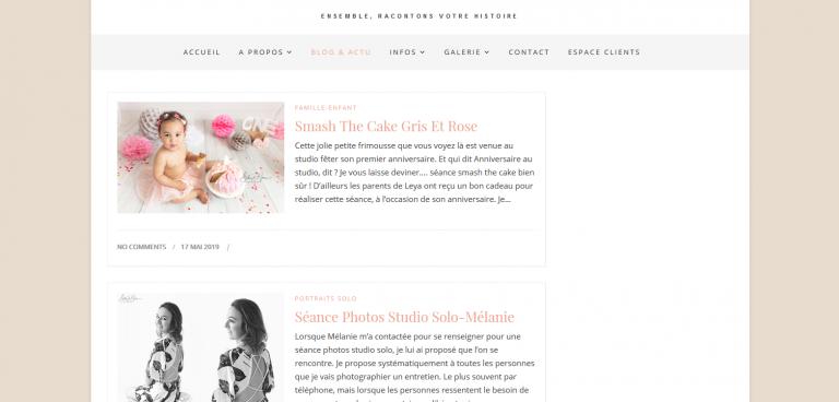 Refonte et modification de la page blog et des articles pour le site de Sophie d'Inca Photographe + Référencement SEO + Sécurité https