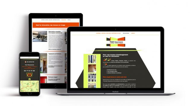 Création du site web pour Yoan, platrier peintre en Dordogne · Intégration et design, retouches des photos, rédaction web et référencement SEO